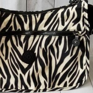 Kipling Nylon Zebra Print Sarajane Crossbody Bag